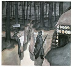Jāzeps GROSVALDS | Latvian | Latvia 1891 –  Paris, France 1920 | Post-Impressionism, Modernism. Komandiera blindaza (Commander's Dugout), 1917