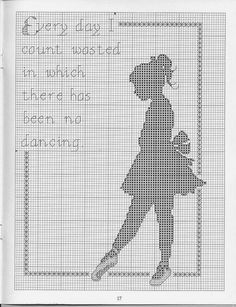 Ballet dancer silhouette with text free cross stitch pattern