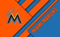 Download wallpapers Miami Marlins, MLB, 4K, East division, blue orange abstraction, logo, material design, baseball, Miami, Florida, USA, Major League Baseball