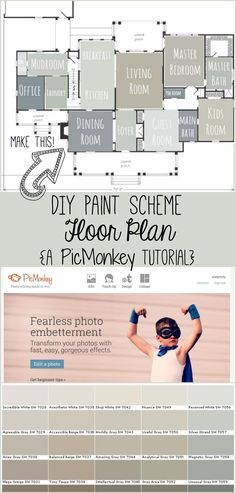 It's easy to create a floor plan layout of paint colors for your home. Use this method when planning a renovation or doing simple updates to test out paint colors you think you like, and to get an idea of how well colors go together. Ok Design, Deco Design, House Design, Room Colors, Wall Colors, House Colors, Interior Paint Colors, Paint Colors For Home, Paint Colours