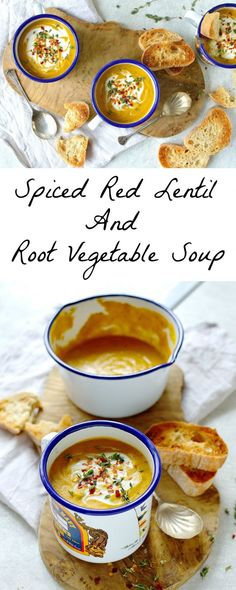Vegan spiced red lentil and root vegetable soup - a hearty, healthy and filling soup that is quick and easy to make. Vegan spiced red lentil and root vegetable soup - a hearty, healthy and filling soup that is quick and easy to make. Vegan Vegetable Soup, Vegan Soups, Winter Vegetable Soup, Vegetable Stock, Veggie Recipes, Cooking Recipes, Healthy Recipes, Red Lentil Recipes, Autumn Soup Recipes Vegetarian