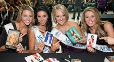 This publicity photo from Miss America is pretty cute. It shows some of the state queens trading autograph cards with each other during an autograph party Jan. 7, 2012 in Las Vegas. Photo via MissAmerica.org.