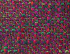 WOOL TWEED SAMPLE, 1960-1970. Brushed mohair, multiply wool and wool slub, and polyester and wool yarns, in light and dark green, orange, pink, red and purple.