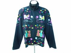Bleu Bayou Casual Wear Embroidered Cat Theme Black Jacket Zip Front Size Large #BleuBayou #BasicJacket