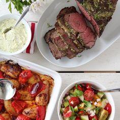 HELGRILLET ENTRECÔTE MED URTESMØR A Food, Food And Drink, Bbq, Recipes, Food, Red Peppers, Barbecue, Barbecue Pit