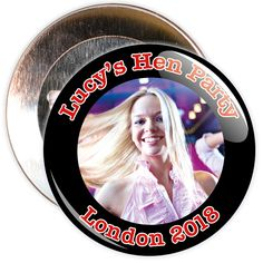 A customisable hen night badge with black border and red text.These hen party badges are customised with a photo, the name of the hen and a location.