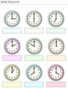 Actividades para niños preescolar, primaria e inicial. Plantillas con relojes analogicos para aprender la hora diciendo que hora es. Que hora es. 15