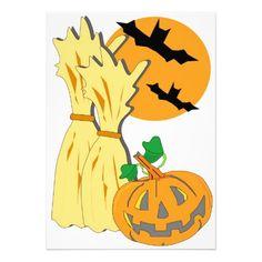 Halloween Scene Custom Invitations - $2.25 - Halloween Scene Custom Invitations - by RGebbiePhoto @ zazle - #bats #halloween #pumpkin - Vector illustration of a fall seasonal holiday with jack-o-lantern and bats.