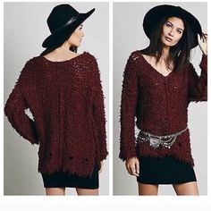 Free people sweater Perfect layering piece for the winter!!! Gorgeous maroon/crimson FP sweater. Worn once. Wanting to get a black one! Trades and offers welcome!!! Cheaper on merc, etousley Free People Sweaters V-Necks