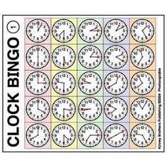 Time to play Bingo!This pdf file includes 12 Clock Bingo game boards and 40 images for use as draw cards.  To make this game easier for your ESL students, the clocks are color coded and divided into time groups, e.g., _o'clock, _thirty, _forty-five.  Students quickly understand the game setup and enjoy playing.Bingo isn't just for special occasions!