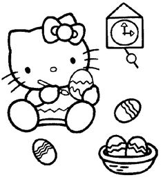 Here is a cute colouring picture of Hello Kitty painint her Easter eggs - click on the pic to see it full size then print or save to your PC. Grab your crayons!
