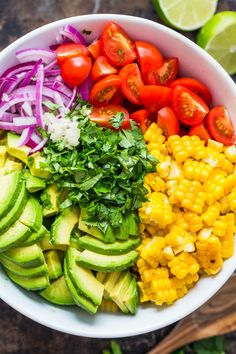 This Avocado Corn Salad is a bright and feel good salad loaded with grilled corn, creamy avocado, cherry tomatoes and the dressing gives it amazing fresh flavor. A crowd pleasing fresh corn salad that always dissapears fast! Fresh Corn Salad, Summer Corn Salad, Fresh Salad Recipes, Corn Salad Recipes, Avocado Tomato Salad, Summer Salad Recipes, Corn Salads, Summer Salads, Healthy Recipes
