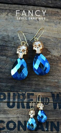 Learn how to take inexpensive plastic beads and transform them into unique skull earrings for everyday Halloween-inspired wear! Holiday Jewelry, Fall Jewelry, Cute Jewelry, Jewelry Crafts, Jewelry Art, Beaded Jewelry, Handmade Jewelry, Jewelry Design, Jewellery