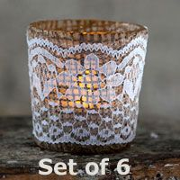 Burlap and Lace Votive Holders - 2.5 Inch Set of 6