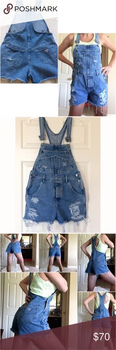 """True Vintage Guess Overalls Shorts ☀️ Vintage Guess Overall shorts!! Hand distressed, raw cut hem. Light wash.  (Vtg Size 4 )PLEASE GO BY MEASUREMENTS:).  Best fit S to M, depending on how baggy/loose you like them.  Waist(beginning at top of side buttons): 16"""" flat. Hips(mid Zipper): 19"""" flat.  Inseam: 3""""    For Reference:  I am 5'8"""" true waist 28, hips 37.5.     100%cotton, NO Stretch.   Offers welcome:) :).   ☀️☀️☀️💕 Guess Jeans Overalls"""