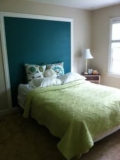 A WAY TO COVER UP THE DOOR BEHIND THE BED.. WITH CROWN MOLDING AND SOMETHING DIFFERENT FOR THE INSIDE THOUGH