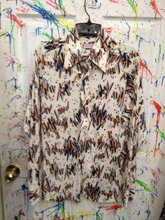 Vintage Men's Handmade Polyester Nylon Disco Pimp Long Sleeve Shirt off white with blue rust geometric motif Size L 16 1970s by RagsAGoGo, $25.00
