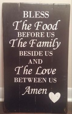 """Pallet Sign """"God Bless the Food Before Us the family beside us and the Love Between Us"""" Black and White by NorthernPalletDesign on Etsy"""