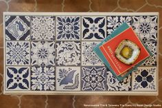 How to Stencil DIY Tutorial: Indigo Blue Vintage Tile Table Top with Chalk Paint and Craqueleur