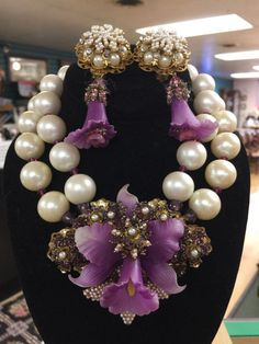 """Amazing unSigned HAGLER Lily or Orchid Seed Bead & rhinestone pendant Necklace and earrings. The necklace is a CHOKER measures about 15.5"""" and has a strand of white matte finish pearl beads and a strand of pearl with a lustre that picks up the pink in crystal separators that make this match beautifully to the two colors of pearls in the pendant. 