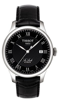 Tissot Le Locle Men's Automatic Black Roman Dial Watch with Black Leather Strap