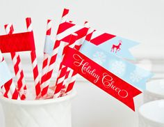 Fun, festive labels on straws can help guests to identify their glass! Plus, it looks cute!