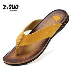 ZSUO 2016 Men Beach Flip flop Slippers sandals (39, yellow)