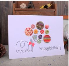 free shipping ballon elephant handmade button birthday card creative invitation card greeting card for friends