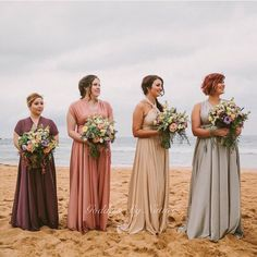 Love this gorgeous Sydney's Palm Beach wedding featured in 2nd issue of @togetherjournal ❤ of bride Anna's mismatch soft colours palette of bridesmaids wearing Goddess By Nature signature multiway ballgowns  for the perfect boho beach wedding  complete with large mixed floral bouquets! Colours shown here from left to right: Mesmerize, Rose Champagne, Light Champagne & Pearl ✨ @timwilliamsphotography  www.goddessbynature.com Worldwide shipping ✈ Stockists worldwide