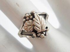 Vintage Sterling Silver Leaf Band Ring Sz 5.75 #1410