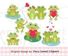 set of 8 little Valentine frogs love clipart por VerySweetClipart