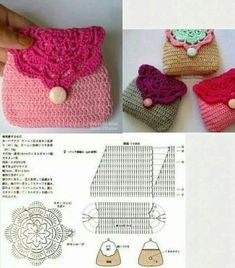 Sen Department of small hand bag Crochet Coin Purse, Crochet Purse Patterns, Crochet Pouch, Crochet Backpack, Crochet Amigurumi, Crochet Chart, Crochet Purses, Free Crochet, Crochet Sachet