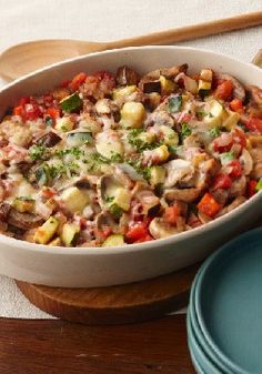 Italian Veggie Bake – This better-for-you baked veggie casserole gets big flavor from Italian dressing and Parmesan cheese.