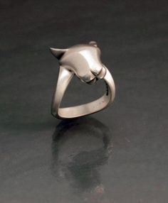 Jaguar, Big Cat, Ring in Sterling Silver. Satin finish with highly polished nose, ears and one side of band for a nice contrast. A great ring for a man or woman. Cat Ring, Hound Dog, Animal Jewelry, Pink Sapphire, Big Cats, Jaguar, Garnet, Ear, Gemstones