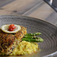 Do your head, your heart and your tastebuds a favor today and order our Chilli & Panko Crusted Cream Dory for lunch: #fishoils are an excellent source of #brainfood and are wonderful for the #heart.  Serving it on a bed of #lime & #tumeric risotto with grilled #asparagus just makes it taste #amazing! #heygoodliving!#  #pantrycafe #premiumingredients #wholesome #gourmet #cleaneating #baysquare #businessbay #downtowndubai #alwasl #safapark #jumeirah #dubai #neighborhoodgourmet