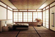 Interior luxury modern japanese style bedroom mock up Japanese Inspired Bedroom, Japanese Style Bedroom, Japanese Style House, Asian Style Bedrooms, Modern Japanese Interior, Japanese Interior Design, Japanese Home Decor, Japanese Decoration, Zen Bedroom Decor