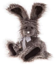 Manufactured Artist Smart Charlie Bear Warren With Tags On Rabbit Wears A Green Bow