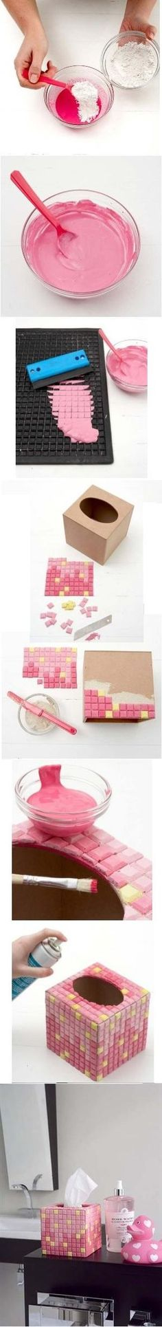Create your own mosaic with gypsum powder Diy Arts And Crafts, Fun Crafts, Diy Y Manualidades, Diy Inspiration, Mosaic Art, Mosaic Tiles, Craft Tutorials, Handicraft, Projects To Try