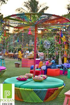 mehendi decor ideas, colourful decor ideas, dreamcatcher decor, parasols in decor, seating ideas