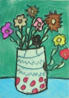 black oil pastel lines with pastel chalk flowers