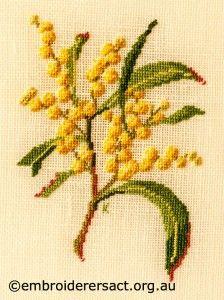 Goolden Wattle stitched by Kay Reid