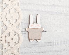 Lovely Easter theme jewellery. Wooden Brooches – Bunny Brooch, Laser Cut Wood Pin, Gray – a unique product by Julia-Wine via en.DaWanda.com