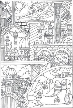 Nice Little Town 5 Adult Coloring Book Coloring Pages