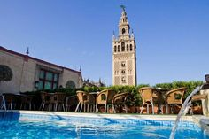 Roofs with fantastic views of La Giralda in Seville, Spain