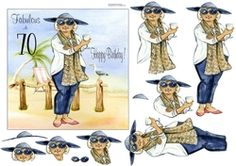 Growing Old Disgracefully by Eliza Brown This lovely lady is enjoying her birthday on the beach in style. Decoupage the lady. On the card… Fabulous Birthday, Be Your Own Kind Of Beautiful, Say Hello, Girl Birthday, Happy Birthday, Decoupage, Disney Characters, Fictional Characters, Card Making