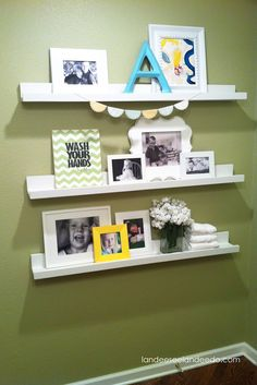 Something like this for that small wall in the dining room...maybe different style of shelf but still think this would work well.