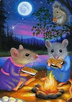 Solve Night picnic jigsaw puzzle online with 70 pieces Fantasy Paintings, Fantasy Art, Cute Mouse, Illustrations, Whimsical Art, Conte, Cute Illustration, Cute Drawings, Cute Art