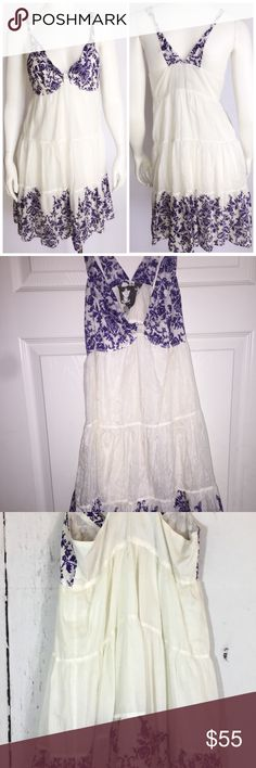 Young Fabulous & Broke White Purple dress Young Fabulous & Broke White Purple Silk Cotton Racer Back Dress Young Fabulous Broke White and Purple Silk and Cotton Racer Back Dress Size M Retail $185 Knotted straps Lightweight Fully lined Young Fabulous & Broke Dresses Midi