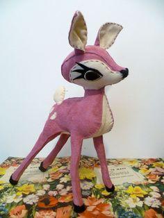 Petal - Pink Suede Leather & Cream Felt Hand Stitched Deer