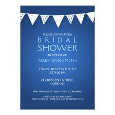 Elegant Bridal Shower Love Bunting Blue Card